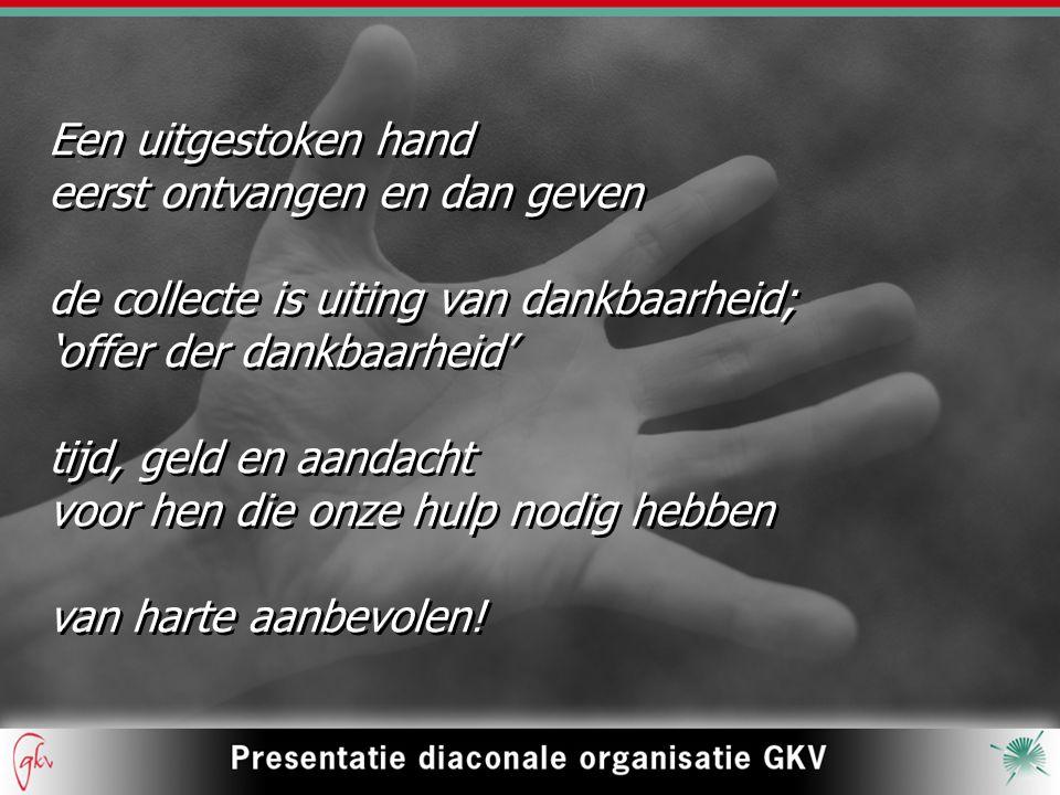 Een uitgestoken hand eerst ontvangen en dan geven. de collecte is uiting van dankbaarheid; 'offer der dankbaarheid'
