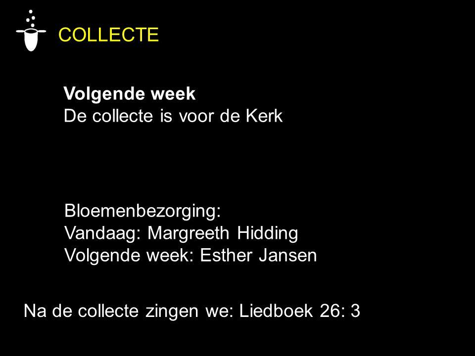 COLLECTE Volgende week De collecte is voor de Kerk Bloemenbezorging: