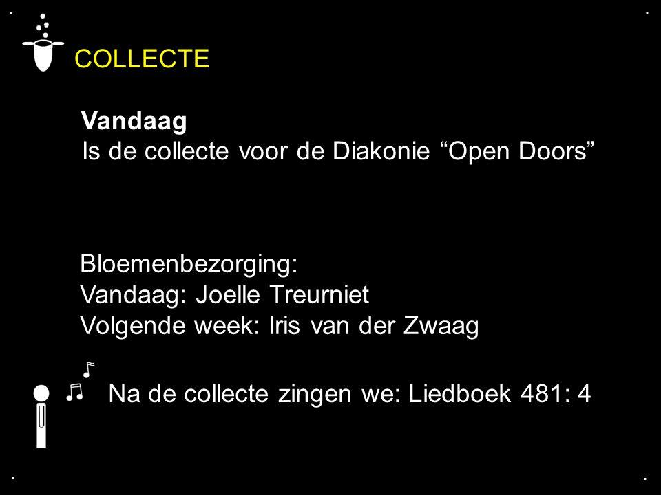 COLLECTE Vandaag Is de collecte voor de Diakonie Open Doors