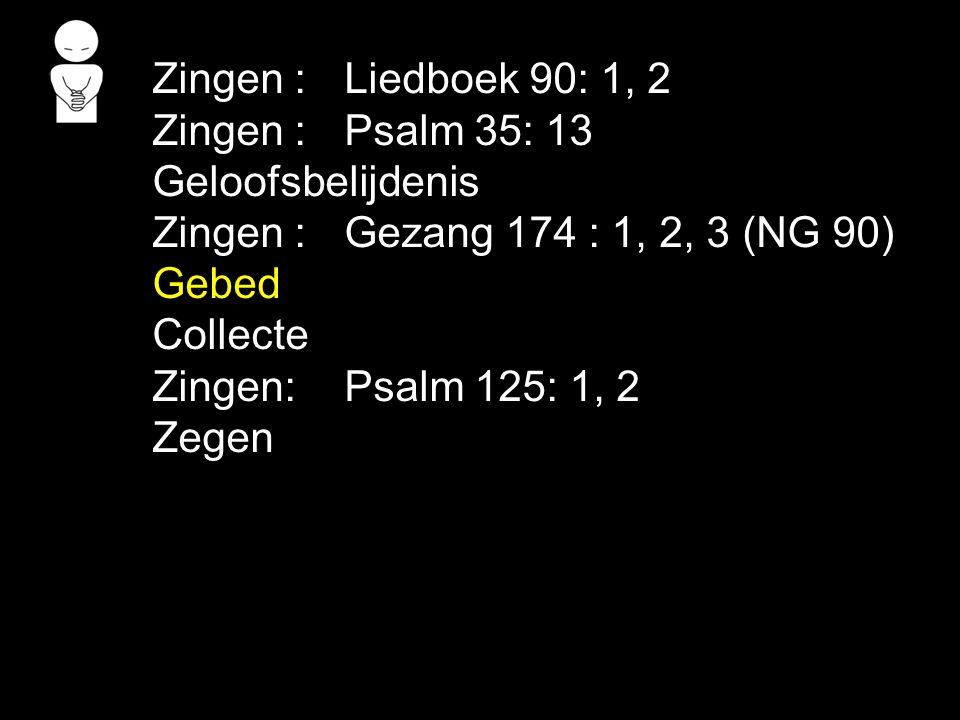 Zingen : Liedboek 90: 1, 2 Zingen : Psalm 35: 13 Geloofsbelijdenis.