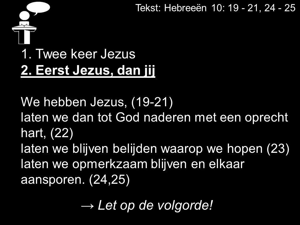 1. Twee keer Jezus 2. Eerst Jezus, dan jij → Let op de volgorde!