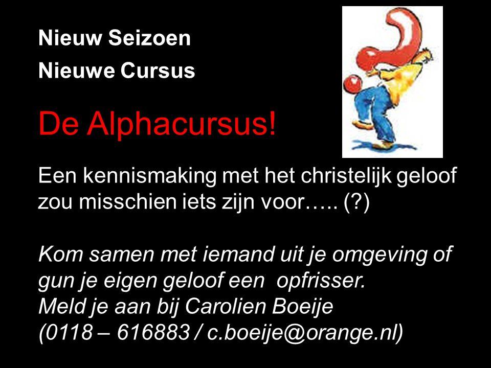 De Alphacursus! Nieuw Seizoen Nieuwe Cursus