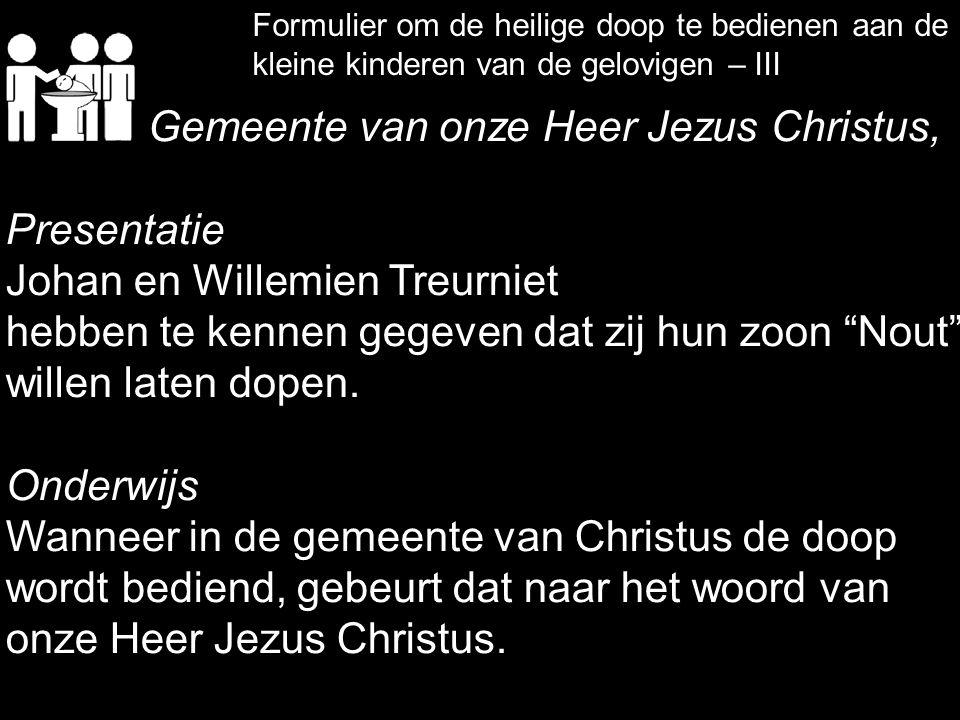 Gemeente van onze Heer Jezus Christus, Presentatie