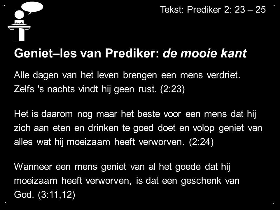 Geniet–les van Prediker: de mooie kant