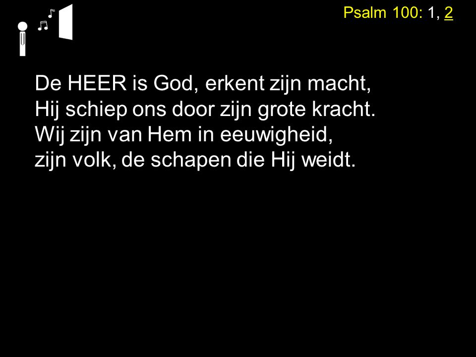 De HEER is God, erkent zijn macht,