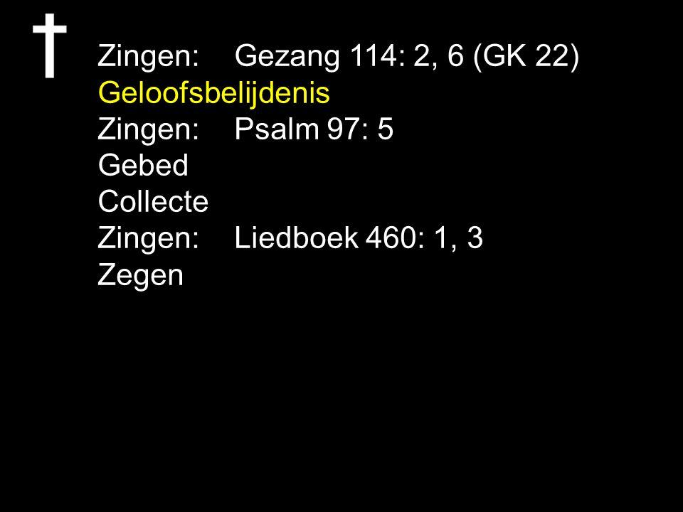 Zingen: Gezang 114: 2, 6 (GK 22) Geloofsbelijdenis. Zingen: Psalm 97: 5. Gebed. Collecte. Zingen: Liedboek 460: 1, 3.