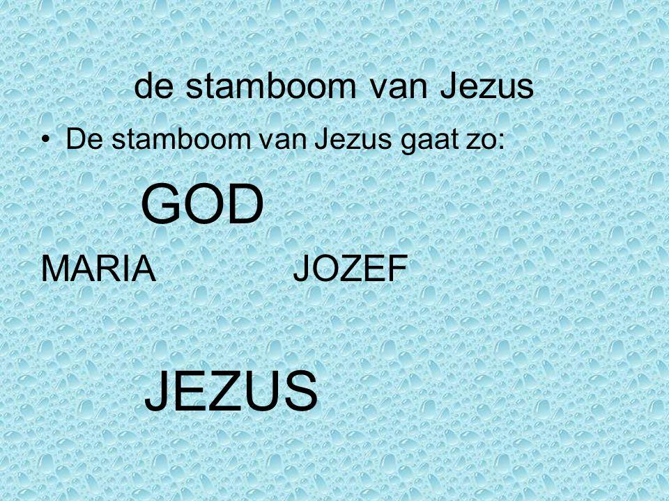 de stamboom van Jezus MARIA JOZEF JEZUS De stamboom van Jezus gaat zo: