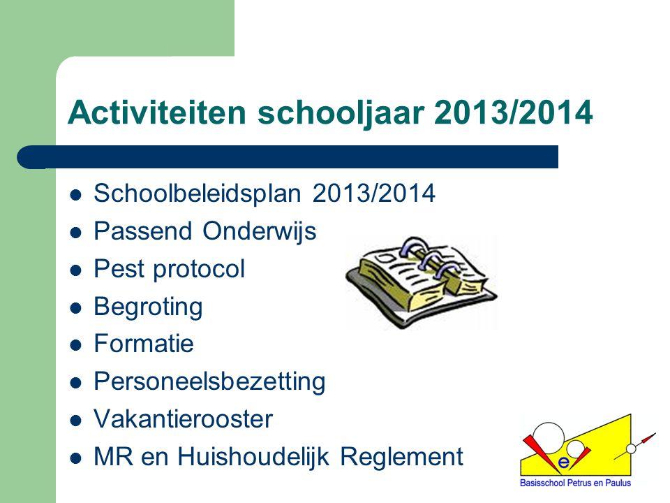 Activiteiten schooljaar 2013/2014