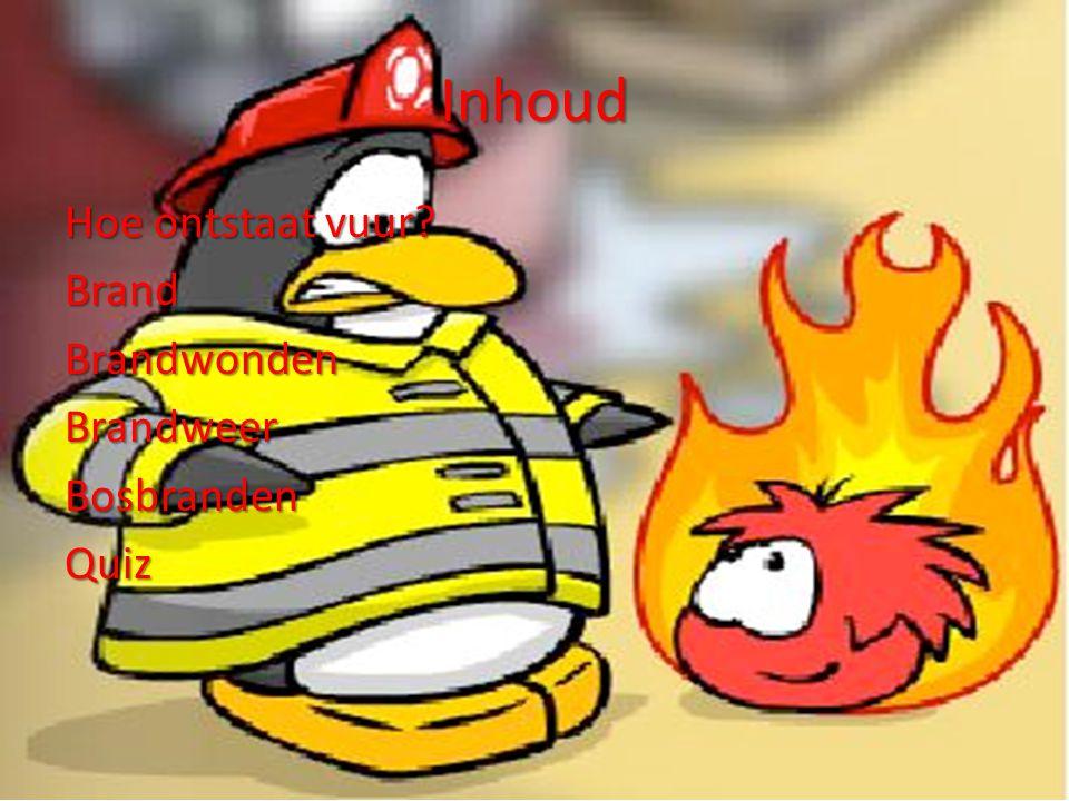Inhoud Hoe ontstaat vuur Brand Brandwonden Brandweer Bosbranden Quiz