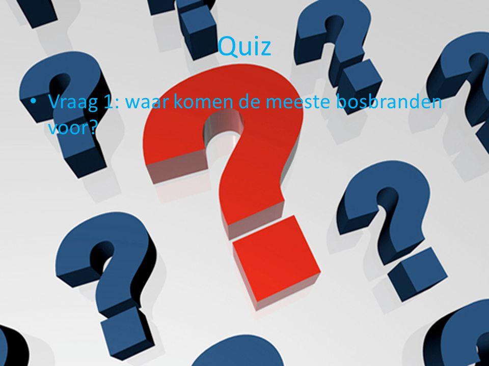Quiz Vraag 1: waar komen de meeste bosbranden voor