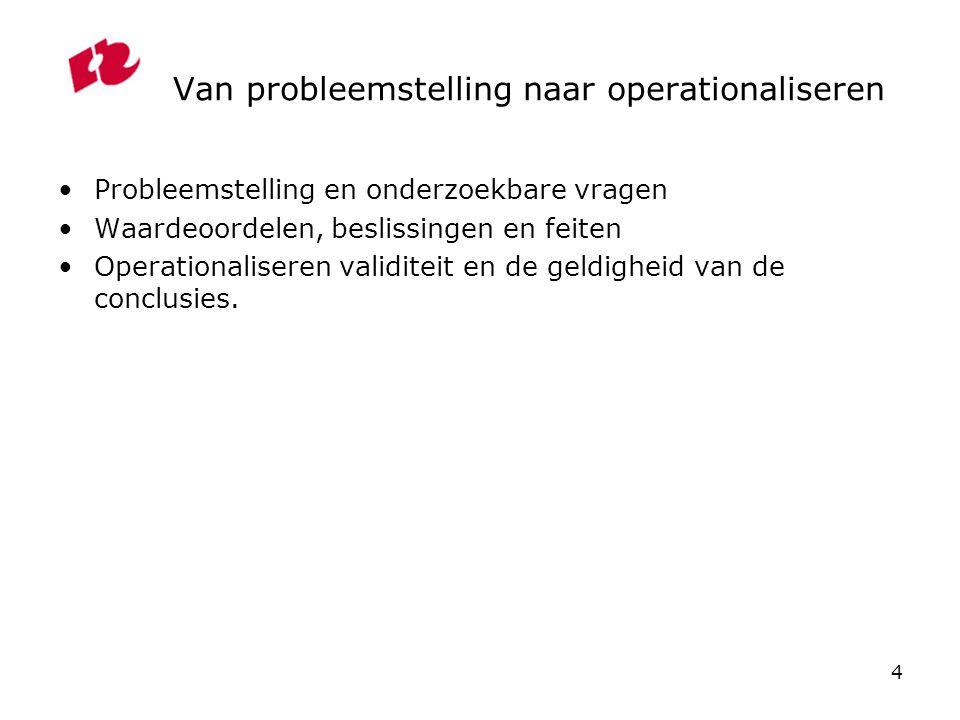 Van probleemstelling naar operationaliseren