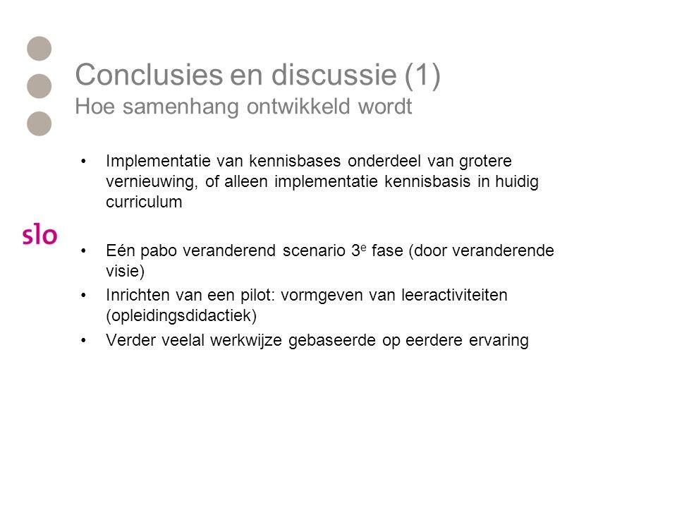 Conclusies en discussie (1) Hoe samenhang ontwikkeld wordt
