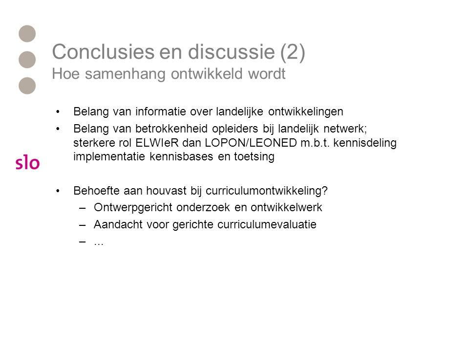 Conclusies en discussie (2) Hoe samenhang ontwikkeld wordt