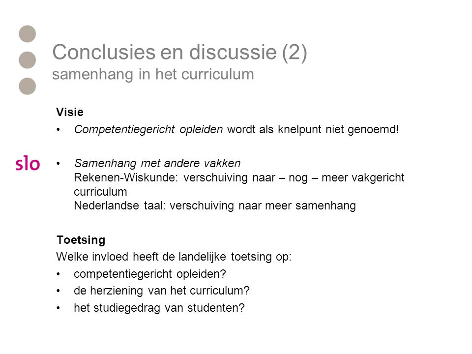 Conclusies en discussie (2) samenhang in het curriculum