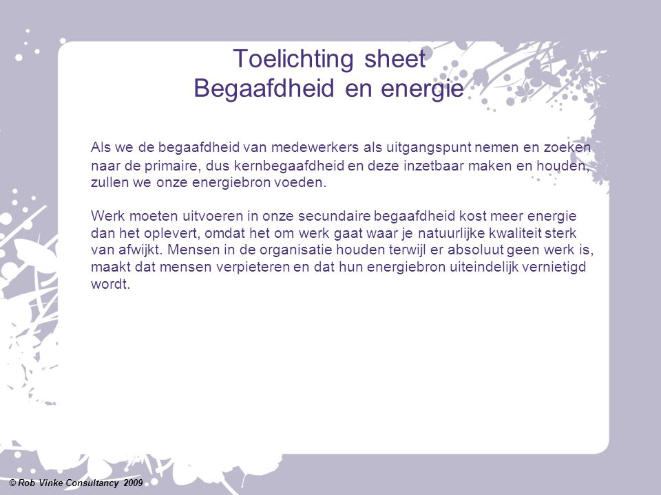 Toelichting sheet Begaafdheid en energie