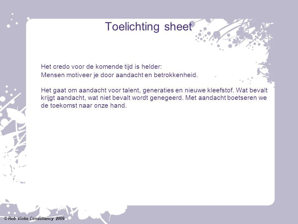 Toelichting sheet