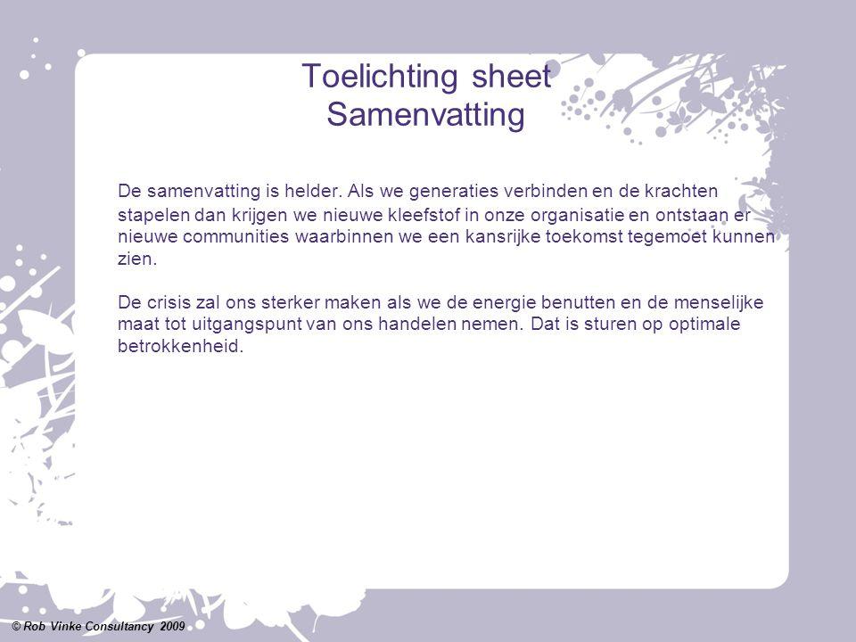 Toelichting sheet Samenvatting