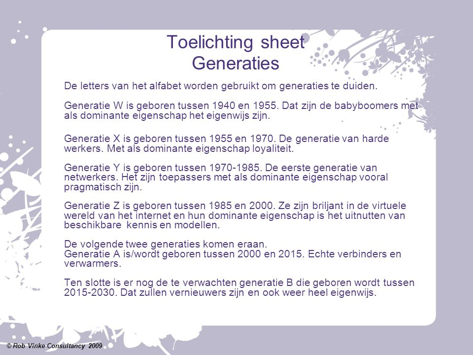 Toelichting sheet Generaties
