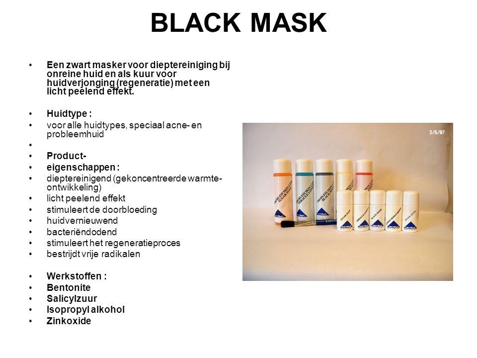 BLACK MASK Een zwart masker voor dieptereiniging bij onreine huid en als kuur voor huidverjonging (regeneratie) met een licht peelend effekt.