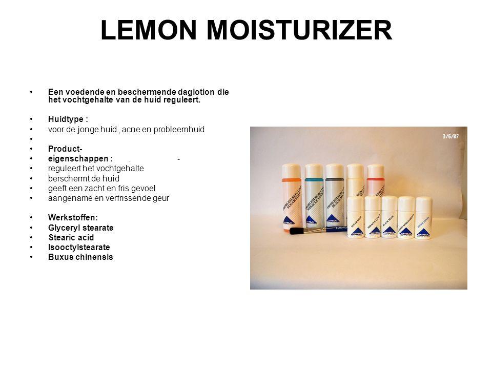 LEMON MOISTURIZER Een voedende en beschermende daglotion die het vochtgehalte van de huid reguleert.