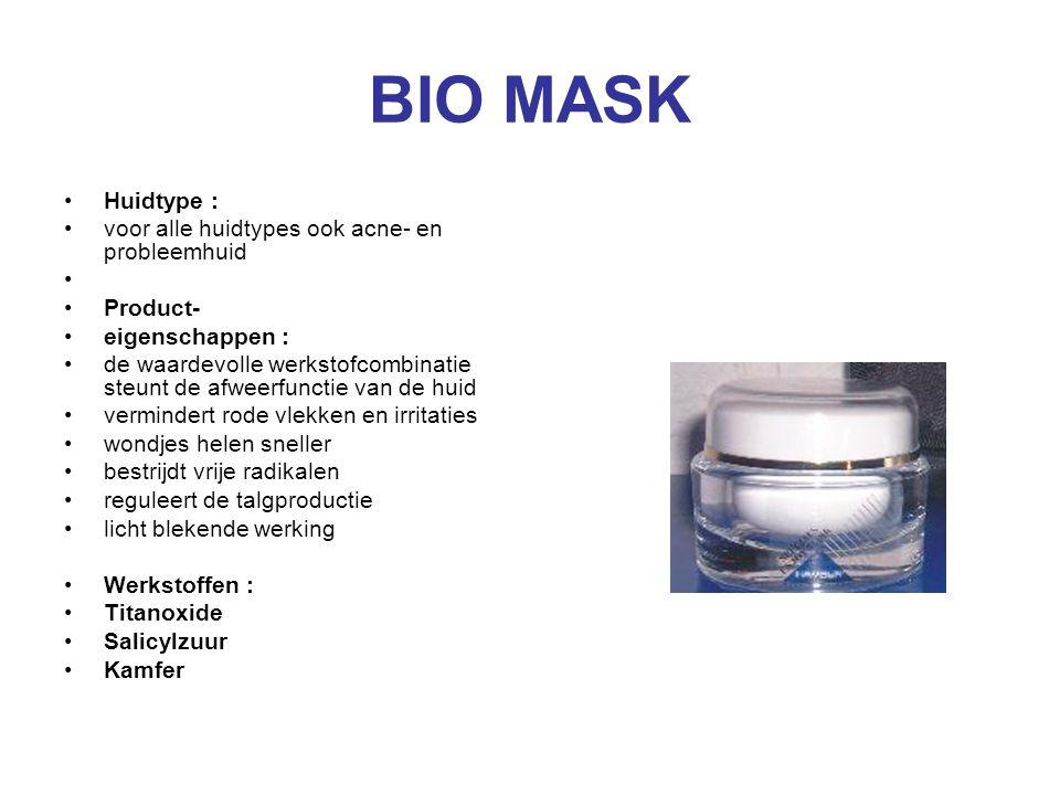 BIO MASK Huidtype : voor alle huidtypes ook acne- en probleemhuid