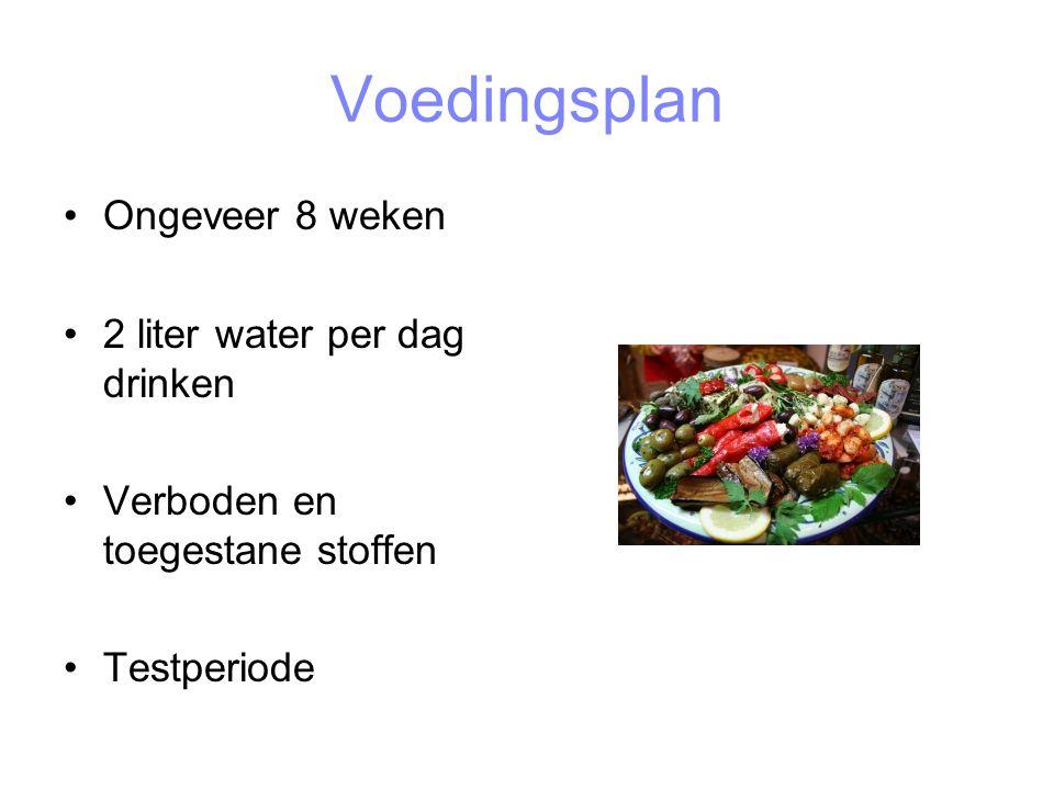 Voedingsplan Ongeveer 8 weken 2 liter water per dag drinken