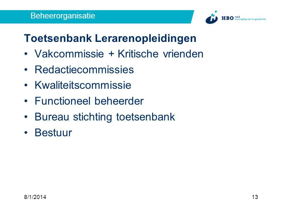 Toetsenbank Lerarenopleidingen Vakcommissie + Kritische vrienden