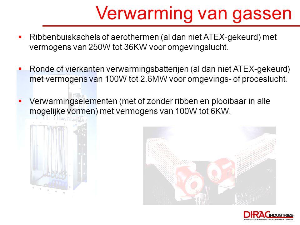 Verwarming van gassen Ribbenbuiskachels of aerothermen (al dan niet ATEX-gekeurd) met vermogens van 250W tot 36KW voor omgevingslucht.