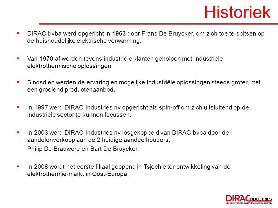 Historiek DIRAC bvba werd opgericht in 1963 door Frans De Bruycker, om zich toe te spitsen op de huishoudelijke elektrische verwarming.