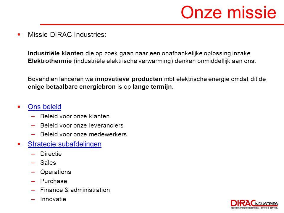 Onze missie Missie DIRAC Industries: Ons beleid