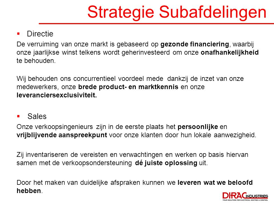 Strategie Subafdelingen