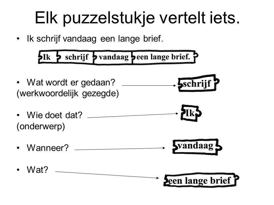 Elk puzzelstukje vertelt iets.