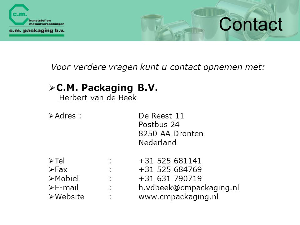 Contact C.M. Packaging B.V.