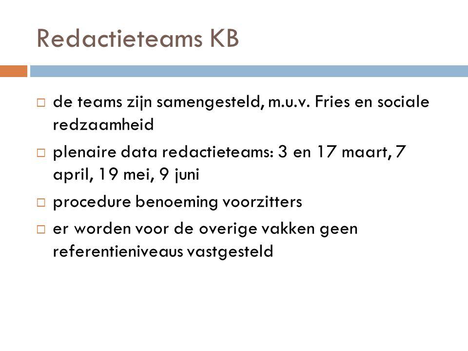 Redactieteams KB de teams zijn samengesteld, m.u.v. Fries en sociale redzaamheid.