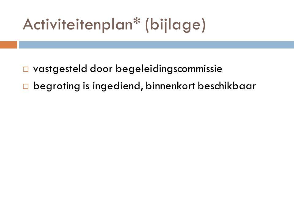Activiteitenplan* (bijlage)