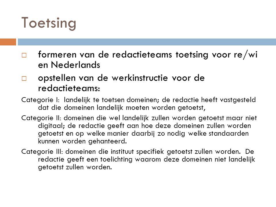 Toetsing formeren van de redactieteams toetsing voor re/wi en Nederlands. opstellen van de werkinstructie voor de redactieteams: