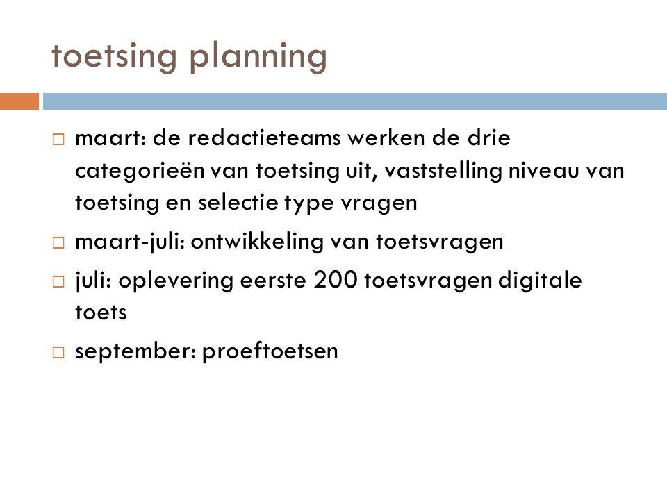 toetsing planning maart: de redactieteams werken de drie categorieën van toetsing uit, vaststelling niveau van toetsing en selectie type vragen.