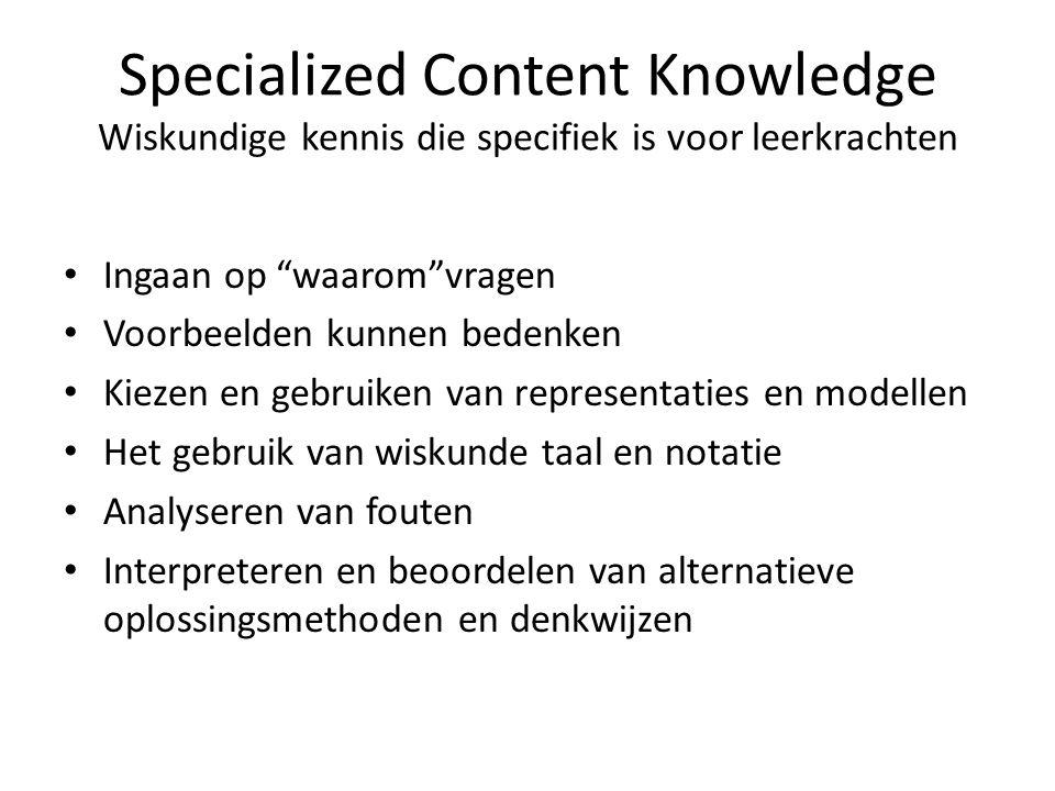 Specialized Content Knowledge Wiskundige kennis die specifiek is voor leerkrachten