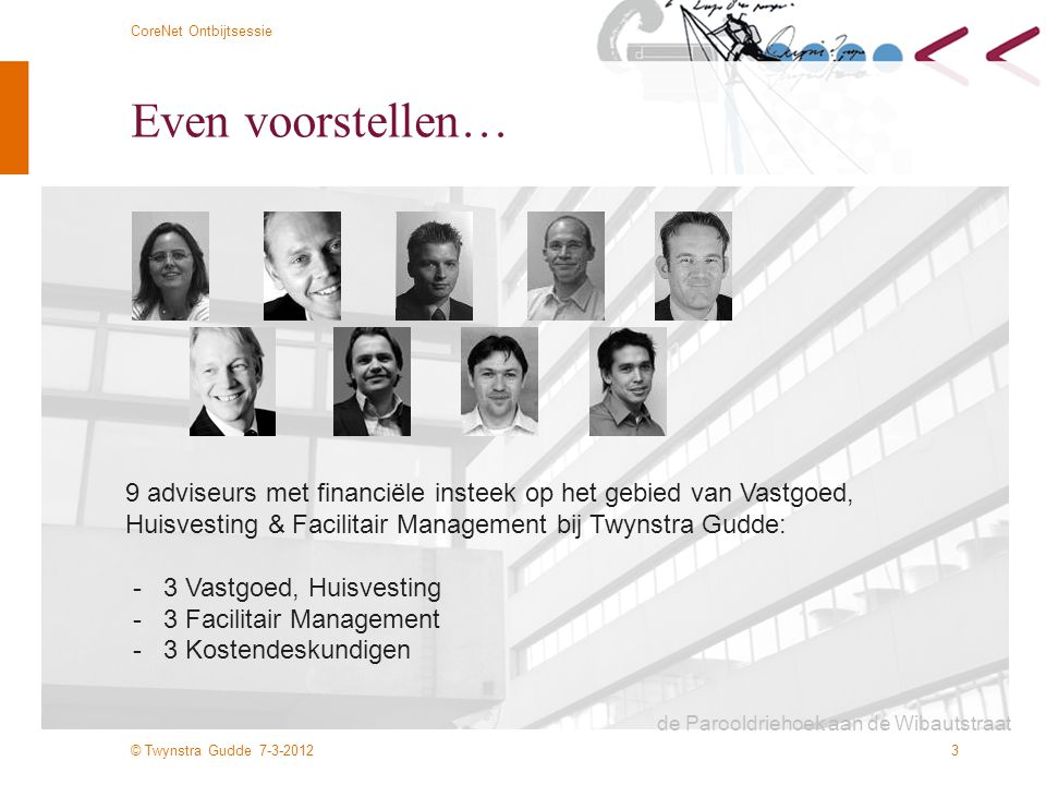 Even voorstellen… 9 adviseurs met financiële insteek op het gebied van Vastgoed, Huisvesting & Facilitair Management bij Twynstra Gudde:
