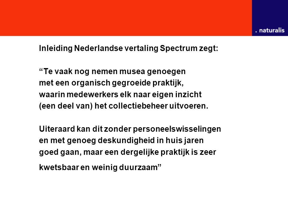 Inleiding Nederlandse vertaling Spectrum zegt: