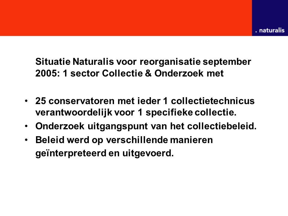 Situatie Naturalis voor reorganisatie september 2005: 1 sector Collectie & Onderzoek met