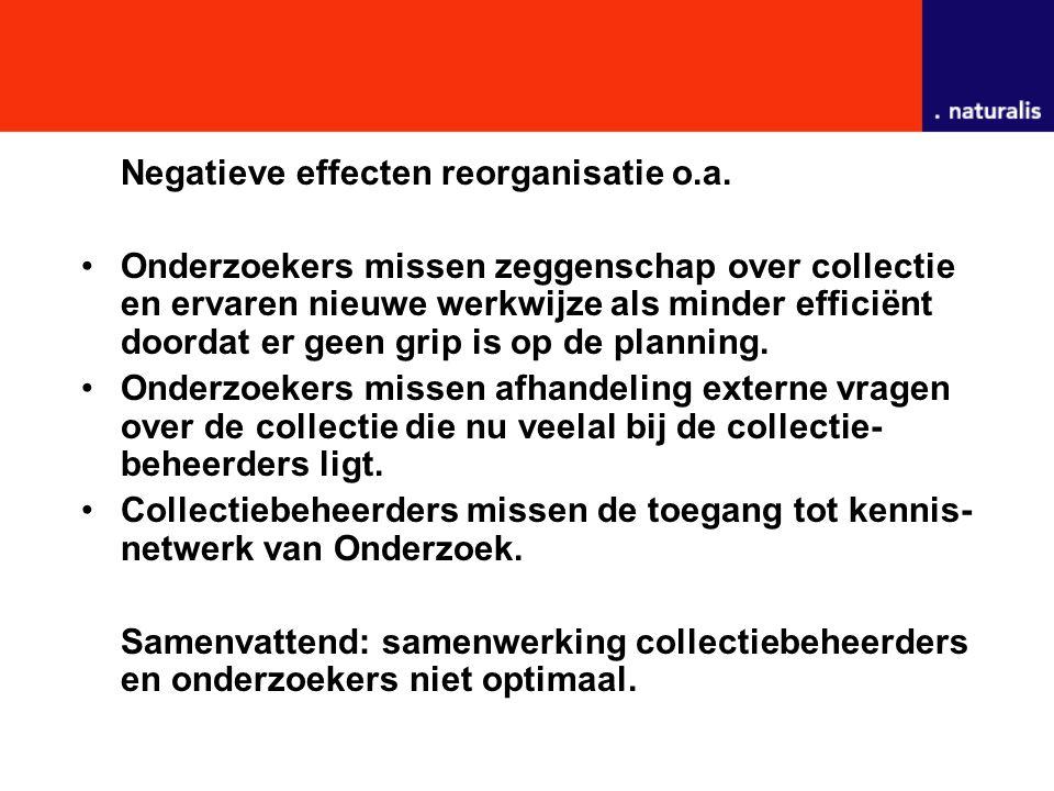 Negatieve effecten reorganisatie o.a.