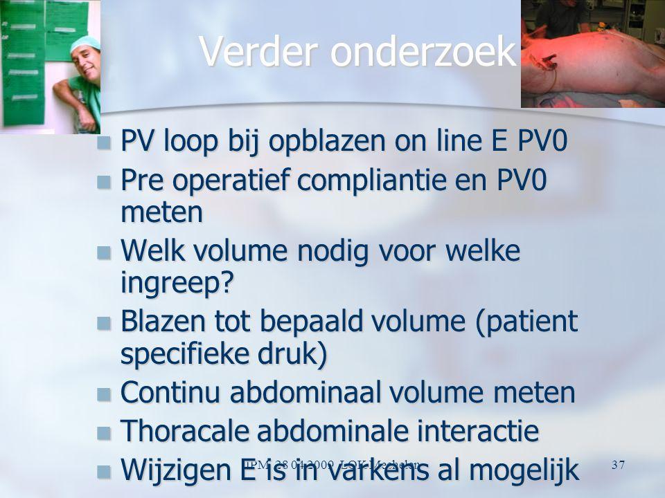 Verder onderzoek PV loop bij opblazen on line E PV0