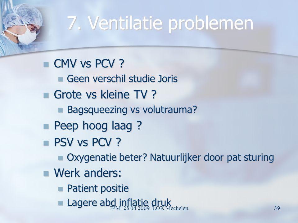 7. Ventilatie problemen CMV vs PCV Grote vs kleine TV
