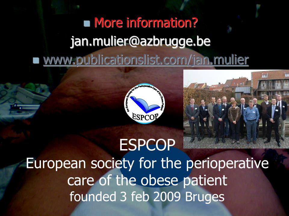 the European Society for the Perioperative Care of the Obese Patient