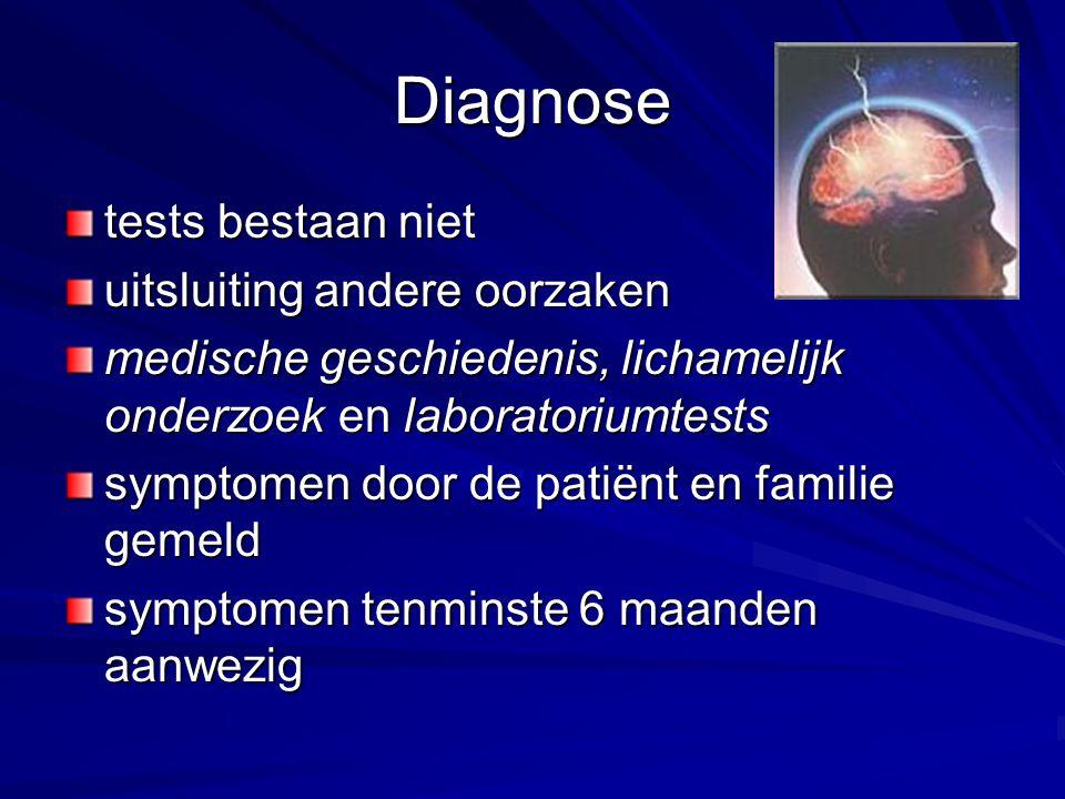 Diagnose tests bestaan niet uitsluiting andere oorzaken