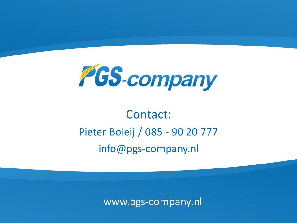 Contact: Pieter Boleij / 085 - 90 20 777 info@pgs-company.nl