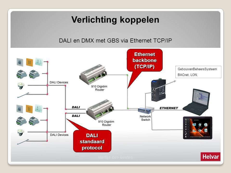 Verlichting koppelen DALI en DMX met GBS via Ethernet TCP/IP