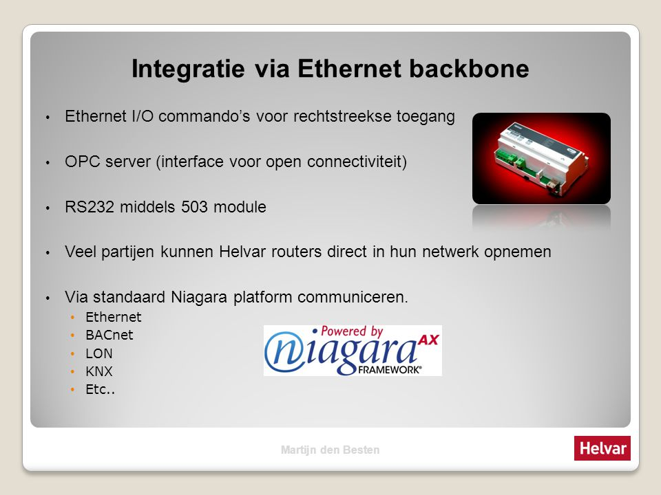 Integratie via Ethernet backbone