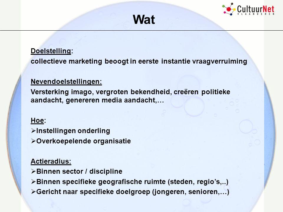 Wat Doelstelling: collectieve marketing beoogt in eerste instantie vraagverruiming. Nevendoelstellingen: